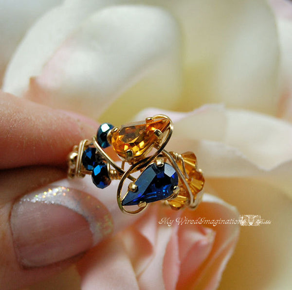 Swarovski Vintage Crystal, Handmade Wire Wrapped Ring Double Birthstone Ring