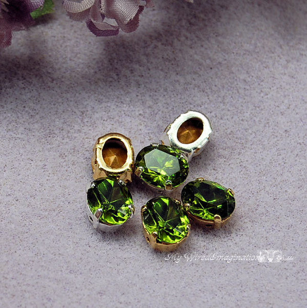 Olivine Green, 2 Pcs Vintage Swarovski 10 x 8mm Oval With Setting, Crystal Sew On
