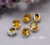Topaz Yellow, Vintage Swarovski 10 x 8mm Topaze Oval Shape with Sew On Setting