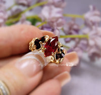 Siam Ruby Red, Dark and Dreamy Handmade Ring, 14K GF US Size 4.75