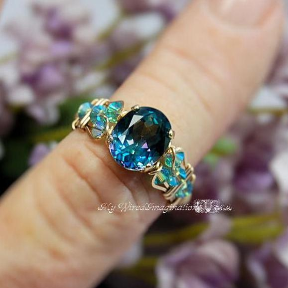 Peacock Mystic Topaz, Handmade Ring by Bobbi J Maw