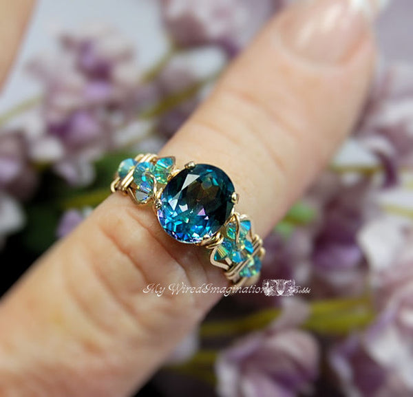 Peacock Blue, Rainbow Mystic Topaz, Handmade Wire Wrapped Ring