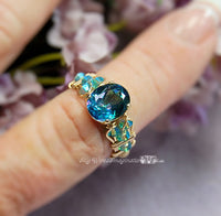 Peacock Blue, Rainbow Mystic Topaz, Handmade Mystic Topaz Ring, Made to Order
