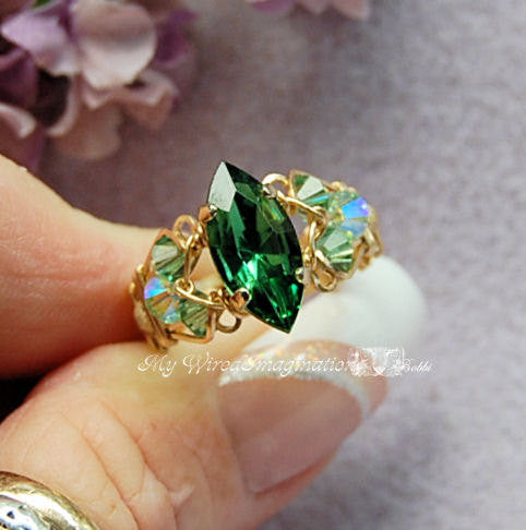 Tourmaline Forest Green, Swarovski Handmade Ring 14kGF US Size 8