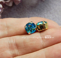 Aqua Shimmer, Swarovski Crystal, 2 Pcs  39ss Xirus Chaton With Settings