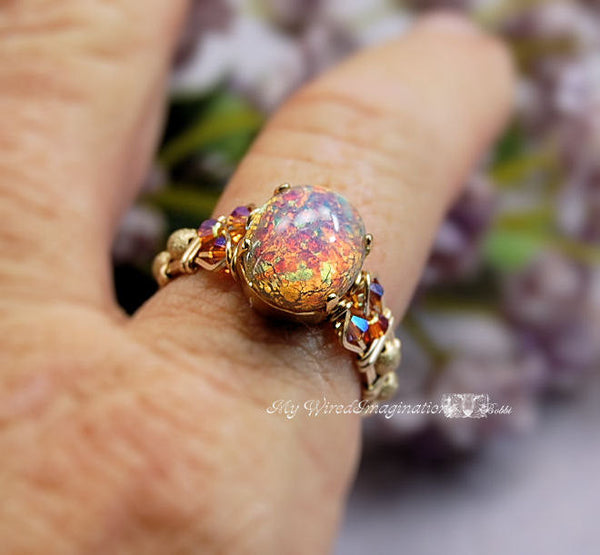 Pink Opal Ring, Vintage West German Glass, Handmade Wire Wrapped Ring