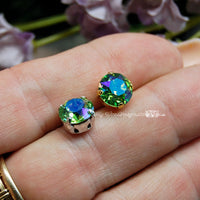 Peridot Shimmer, Sew On Swarovski Crystal 39ss Xirus Chaton 8mm With Setting