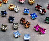 Reserved for Katie, 33 Pcs, 6mm Square Rhinestones, 3 Pieces 11 Birthstones