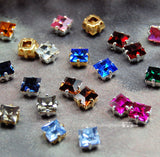 6mm Square Rhinestone, Vintage Swarovski Crystal or CZ, 29 Colors