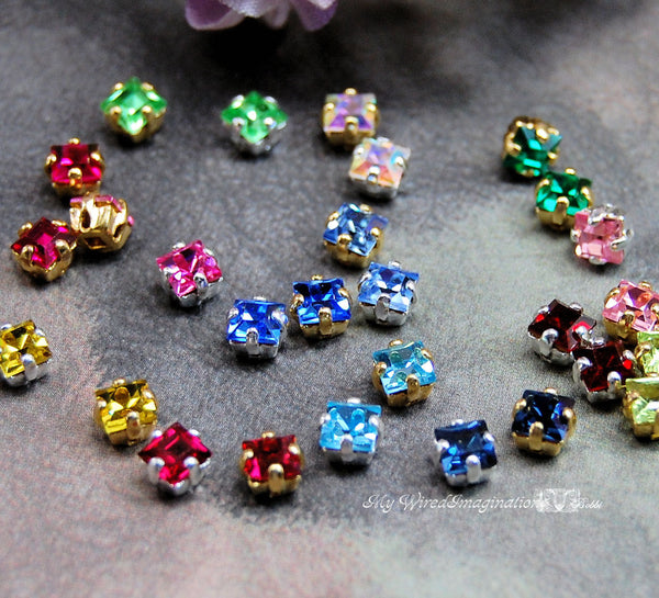 4mm Square Rhinestone Sew On Vintage Swarovski Crystal 19 Colors With Settings