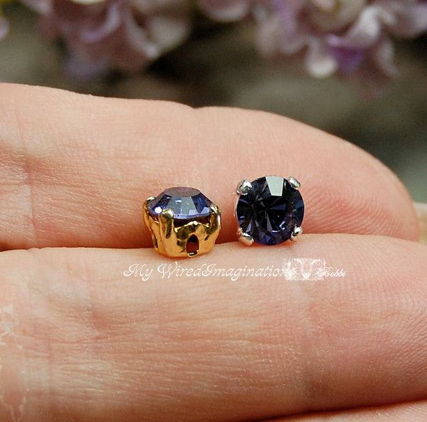 Tanzanite Purple, Vintage Swarovski Crystal, 30ss 6.25mm Crystal with Sew On Setting