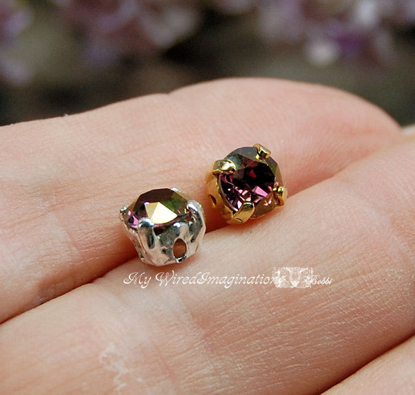 Crystal Lilac Shadow, Swarovski Elements 29ss 6mm With Setting, 2 Pcs Crystal Sew On
