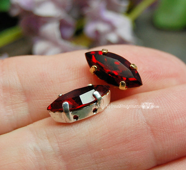 Siam Ruby Red, Swarovski 15x7mm Navette Marquise Shape with Setting