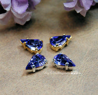 Tanzanite, Vintage Glass Cabochon, 2 Pcs 10x6mm Pears With Setting