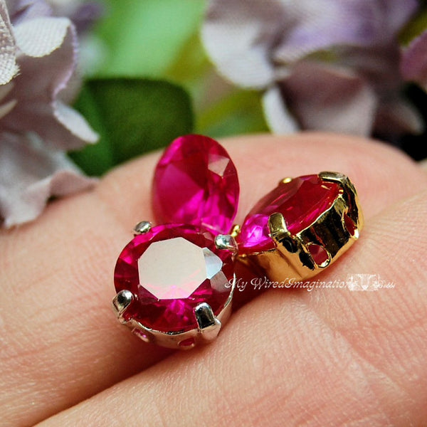 Lab-Created Ruby Faceted Gemstone, 8.5mm Round, Solid Sterling or Plated Setting