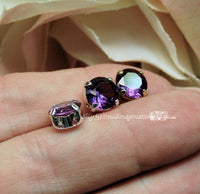Alexandrite 8.5mm Color Change, Lab Created Faceted Gemstone with Setting
