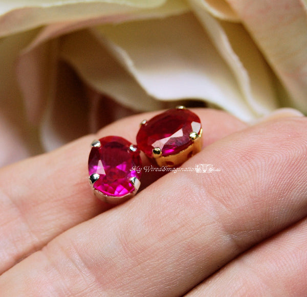 Ruby, 10x8mm Lab-Created Faceted Oval, Gemstone with Setting