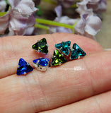 Vintage 6mm Swarovski Triangle Art 4722 2pcs  Sapphire,Olivine, Blue Zircon or Tanzanite with Setting
