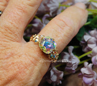 Swarovski Crystal AB, Handmade Ring, April Birthstone, Made to Order Ring