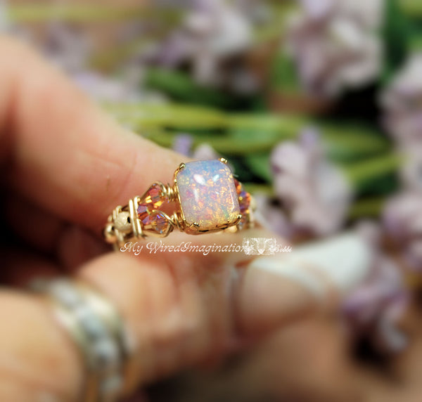 Pink Opal Ring, Vintage West German Pink Opal Glass Handmade Ring