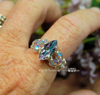 Vintage Swarovski Vitrail Light Crystal Handmade Ring in 14K GF US Size 6.5