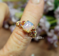 Pink Opal Ring, Vintage West German Pink Opal Glass Handmade Ring, Made to Order
