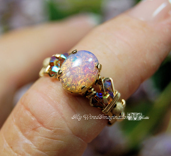 Dainty Pink Opal Ring, Vintage West German Glass Stone, Handmade Wire Wrapped Ring