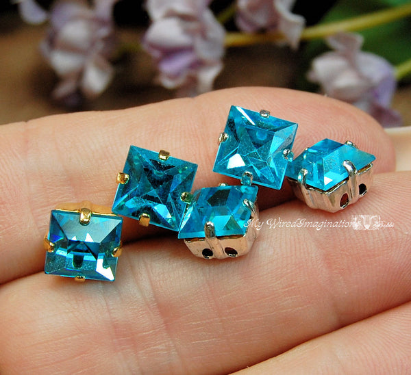 Aquamarine, Vintage Swarovski, 8mm Square, with Setting, Crystal Sew On