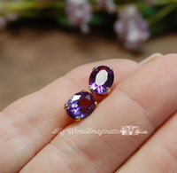 Color Change Alexandrite, Lab-Created Faceted Gemstone 9x7mm Oval with Setting