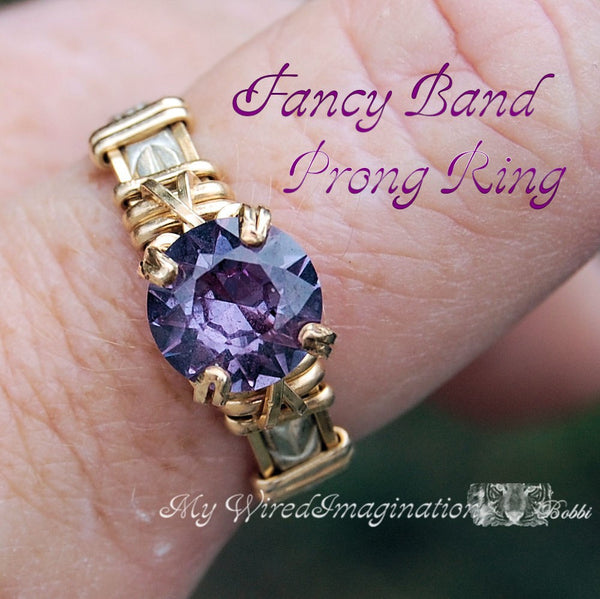 Fancy Band Prong Ring, Wire Wrap Jewelry Tutorial, Wire Wrap Ring Pattern