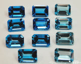 Swiss Blue Topaz, Genuine AAA 10X14 Faceted Swiss Blue Topaz, Emerald Cut Loose Gemstone