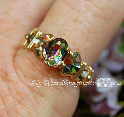 Petite Vintage Swarovski Vitrail Medium Crystal, Handmade Ring, Limited Edition
