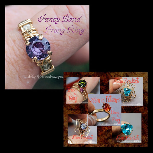 DIY Prong Rings, 2 Tutorial Jewelry Package, Fancy Band & Lesson in Patience, Save 50%