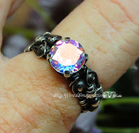 Round Opalescent Topaz, Mercury Mystic Topaz, Handmade Ring, Made to Order