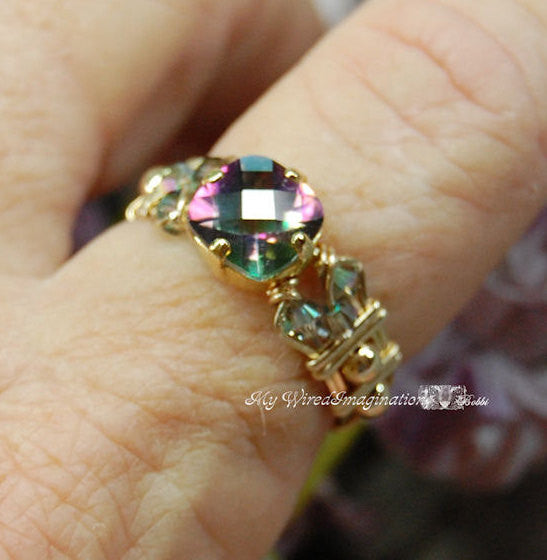 Rainbow Mystic Topaz Handmade Ring, Checkerboard Faceted Cut 14K GF Size 6.5