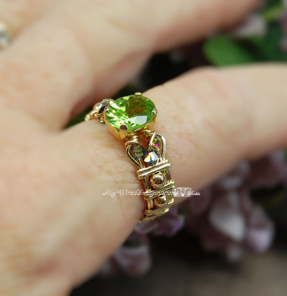 Genuine Peridot 14K GF Wire Wrapped Ring, August Birthstone, US Size 9