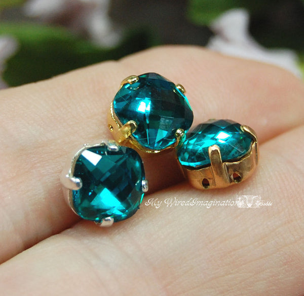 Blue Zircon, 8mm Vintage Swarovski Antique Checkerboard 4461 Cushion Cut with Setting