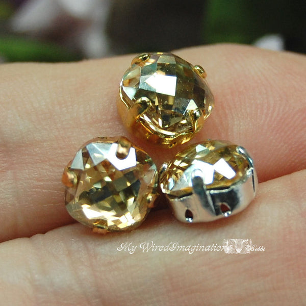 Golden Shadow, 8mm Vintage Swarovski Antique Checkerboard, 4461 Cushion Cut with Setting