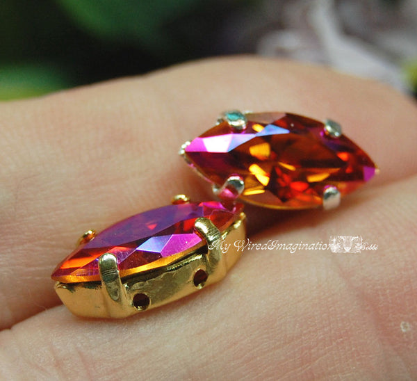 Crystal Astral Pink, Swarovski Crystal Elements 15x7mm Navette, With Sew On Setting