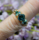 Blue Zircon Handmade Ring, Vintage Crystal, 14K GF US Size 6 and 7