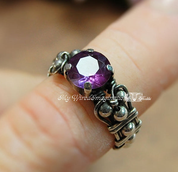 Alexandrite in Solid Sterling Silver, Handmade Ring, Made to Order, June Birthstone