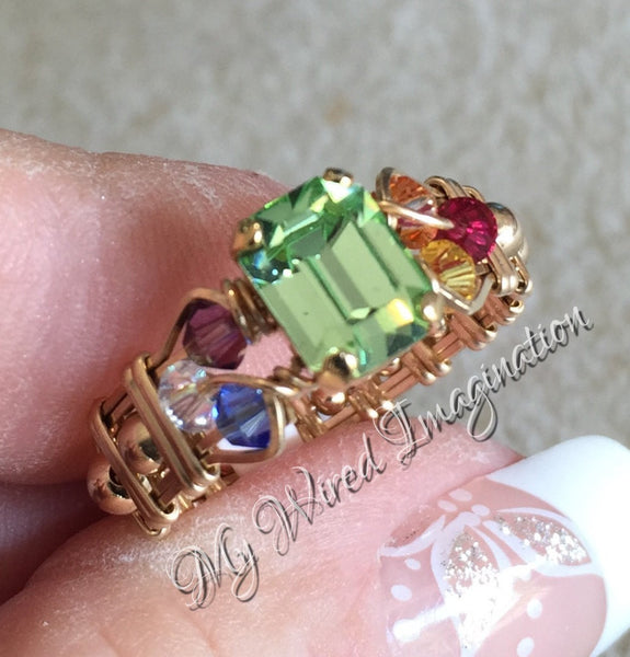 Crystal Chakra Ring, 7 Chakra Healing Colors, Handmade Ring 14K GF US Size 5