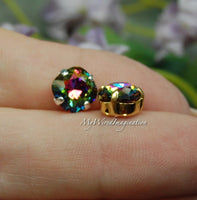 Swarovski Electra, Vitrail Watermelon, Vintage Swarovski Sew On, 8mm Fancy Art 4470, with Setting