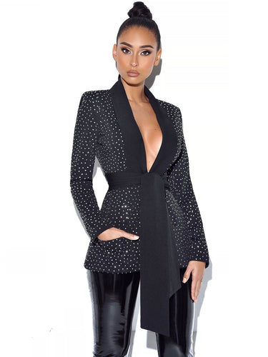 Samara Crystal Embellished Black Blazer Jacket
