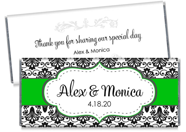 Black Paisley with Green Banner Wedding Candy Bar Wrappers
