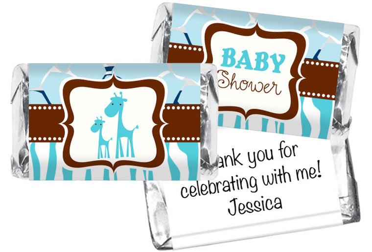 Giraffe Safari Boy Baby Shower Mini Bar Wrappers