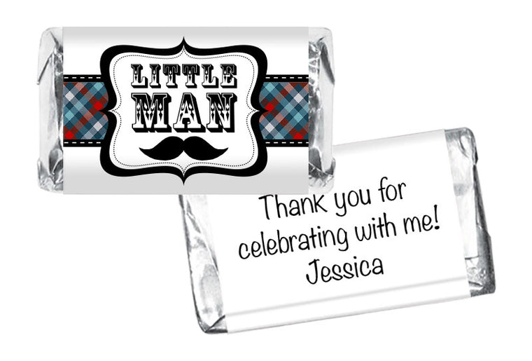 Little Man Mustache Boy Baby Shower Mini Bar Wrappers