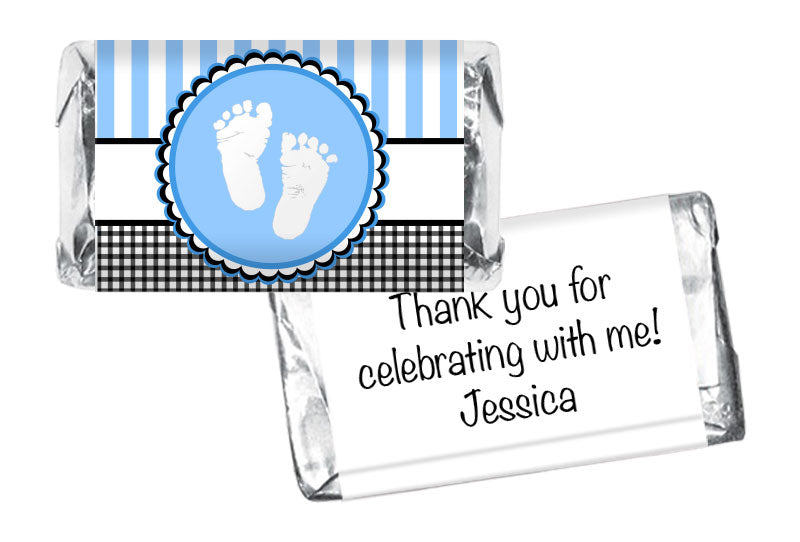 Sweet Baby Feet Boy Baby Shower Mini Bar Wrappers