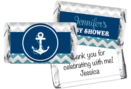 Nautical Anchor Boy Baby Shower Mini Bar Wrappers