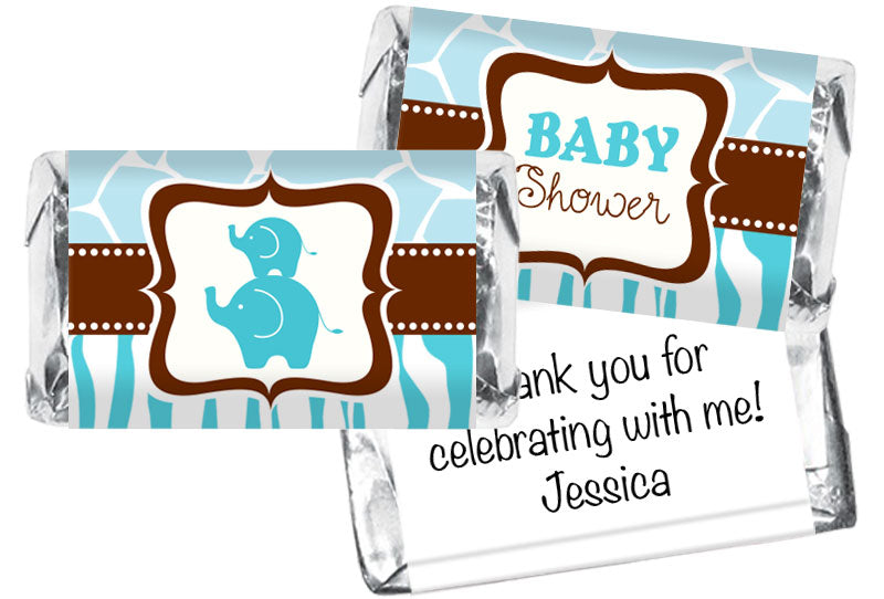 Blue Safari Elephants Boy Baby Shower Mini Bar Wrappers